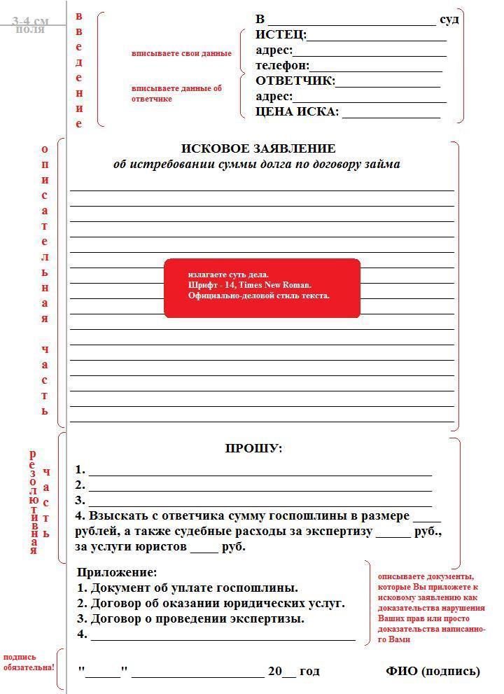 цена иска по договору займа банк пойдем челябинск кредит